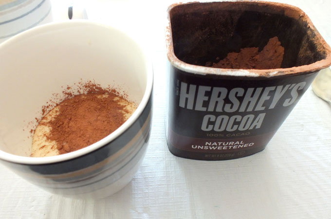 Adding Hershey's Cocoa to the cake batter