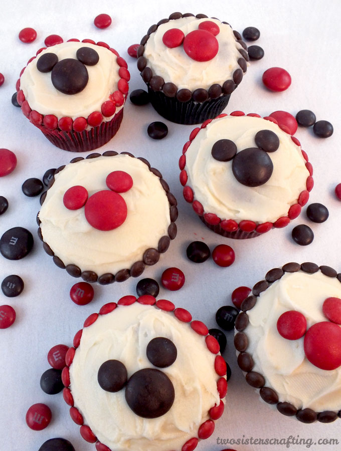 Pictures Of Mickey Mouse Cupcakes : M&M Mickey Cupcakes - Two Sisters Crafting