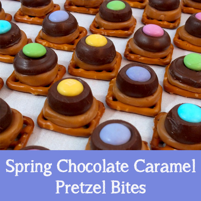 Spring Chocolate Caramel Pretzel Bites - Two Sisters Crafting
