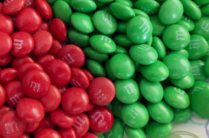 Green and Red M&M Minis