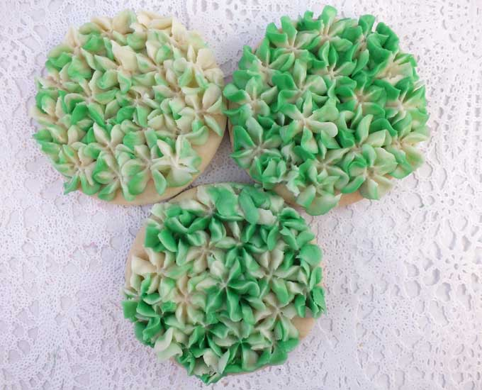 Hydrangea Frosted Sugar Cookies in Green & Ivory