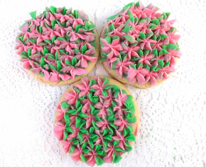 Hydrangea Frosted Sugar Cookies in Pink & Green