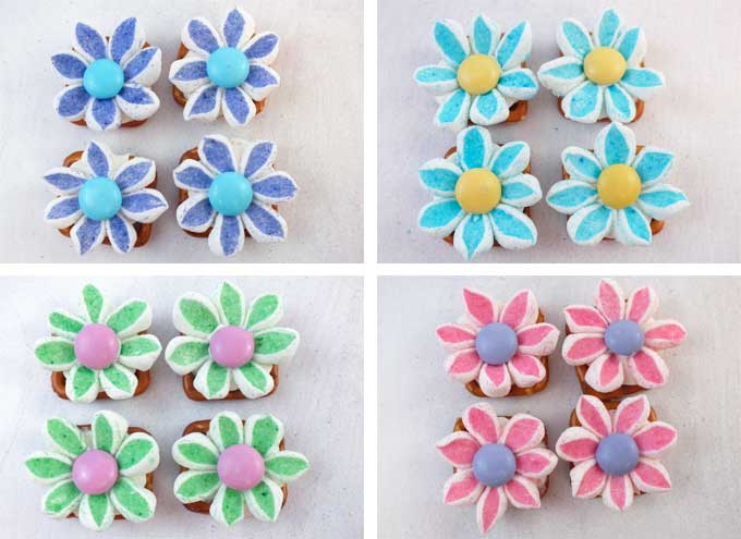 Different colors of Marshmallow Flower Pretzel Bites