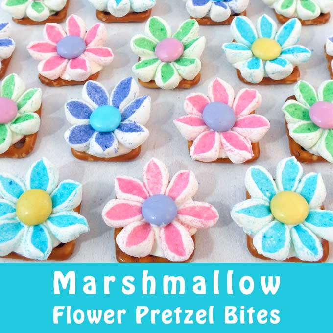 Marshmallow Flower Pretzel Bites Two Sisters