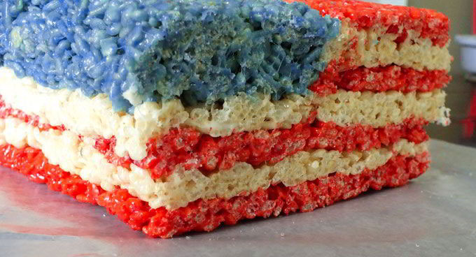 Letting the flag Rice Krispie Treat loaf set