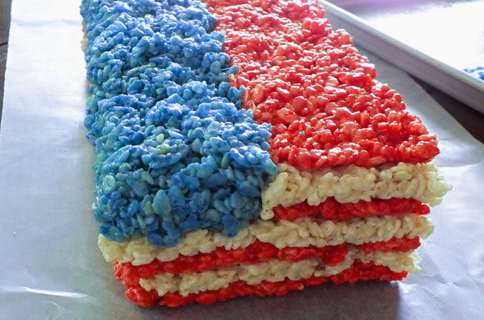 Adding blue to the 4th of July Rice Krispie Treats