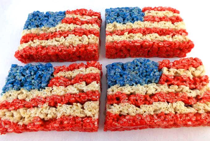 Rice Krispy Treats | All-American 4th Of July Desserts | 4th of july desserts for a crowd