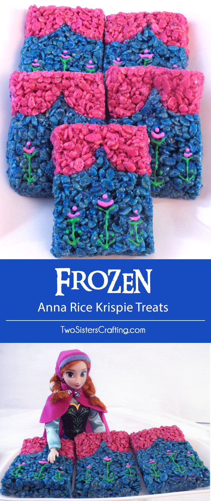 Our sweet and sassy Anna Rice Krispie Treats are adorable, delicious and just right for a Frozen Birthday Party. Easy to make, these colorful Anna themed treats will definitely stand out on a Frozen Dessert Table. Follow us for more fun Frozen Party Ideas.