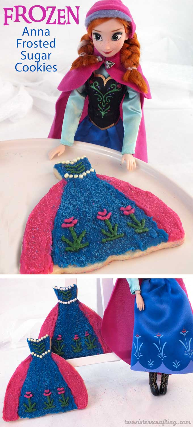 Anna Frosted Sugar Cookies decorated to look like Princess Anna's iconic blue and pink dress are great for a Frozen Birthday Party. Made with our delicious sugar cookies and buttercream frosting they will be a hit at your Frozen Party and we have the step by step directions you'll need to make them for your own Frozen Party. Follow us for more fun Frozen Party Ideas.