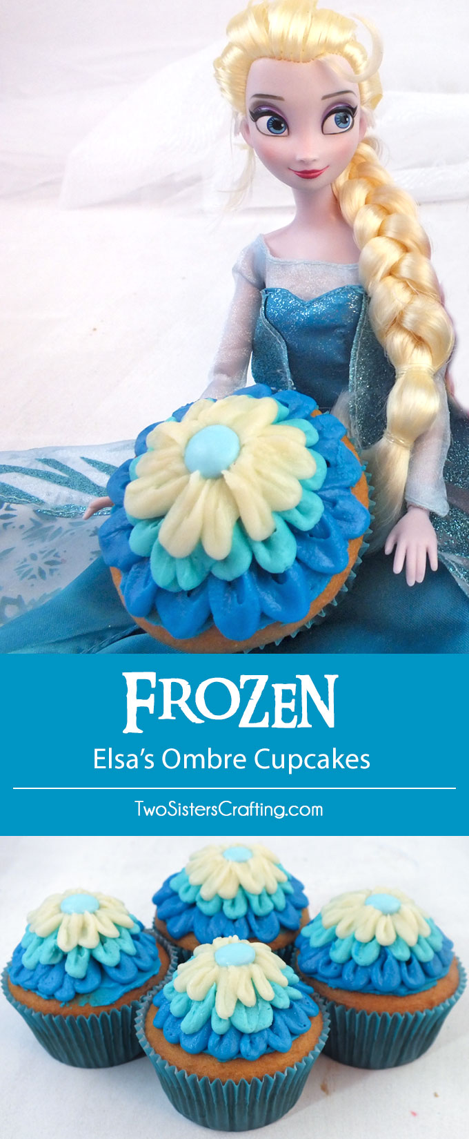 Everyone at your Frozen Birthday Party will love these Elsa's Ombre Cupcakes. So pretty, so delicious and easier to make than you might think. These beautiful Frozen Cupcakes will look lovely on your Frozen Dessert Table and we have all the directions you'll need to create them. Follow us for more great Frozen Party Ideas.