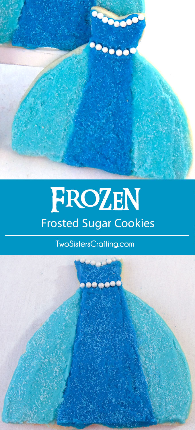 Our Frozen Frosted Sugar Cookies are yummy sugar cookies with buttercream frosting decorated to represent Queen Elsa's famous Ice Queen Dress. Perfect for a Frozen Birthday Party and easy to create, we have all the step by step directions you'll need to make these for your Frozen Party. Follow us for more fun Frozen Party Ideas.
