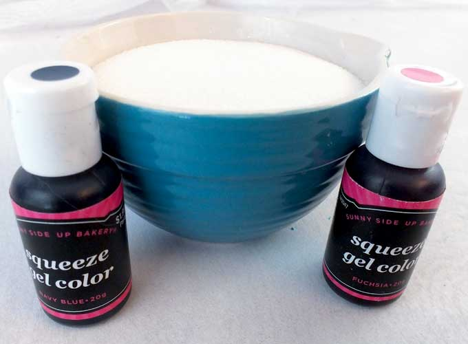 White Sugar and Food Coloring to make Sparkling Sugar