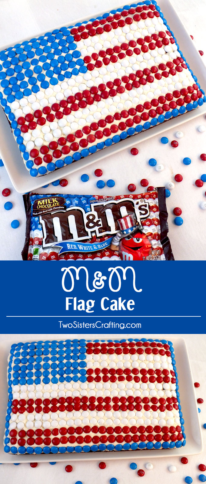 This M&M Flag Cake could not be easier to decorate and it is a great last minute dessert for a 4th of July party, a Memorial Day BBQ or an Olympics viewing party. Pin this great 4th of July treat for later and follow us for more fun and patriotic 4th of July Food Ideas.