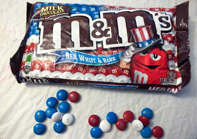 Red White and Blue M&M Candies