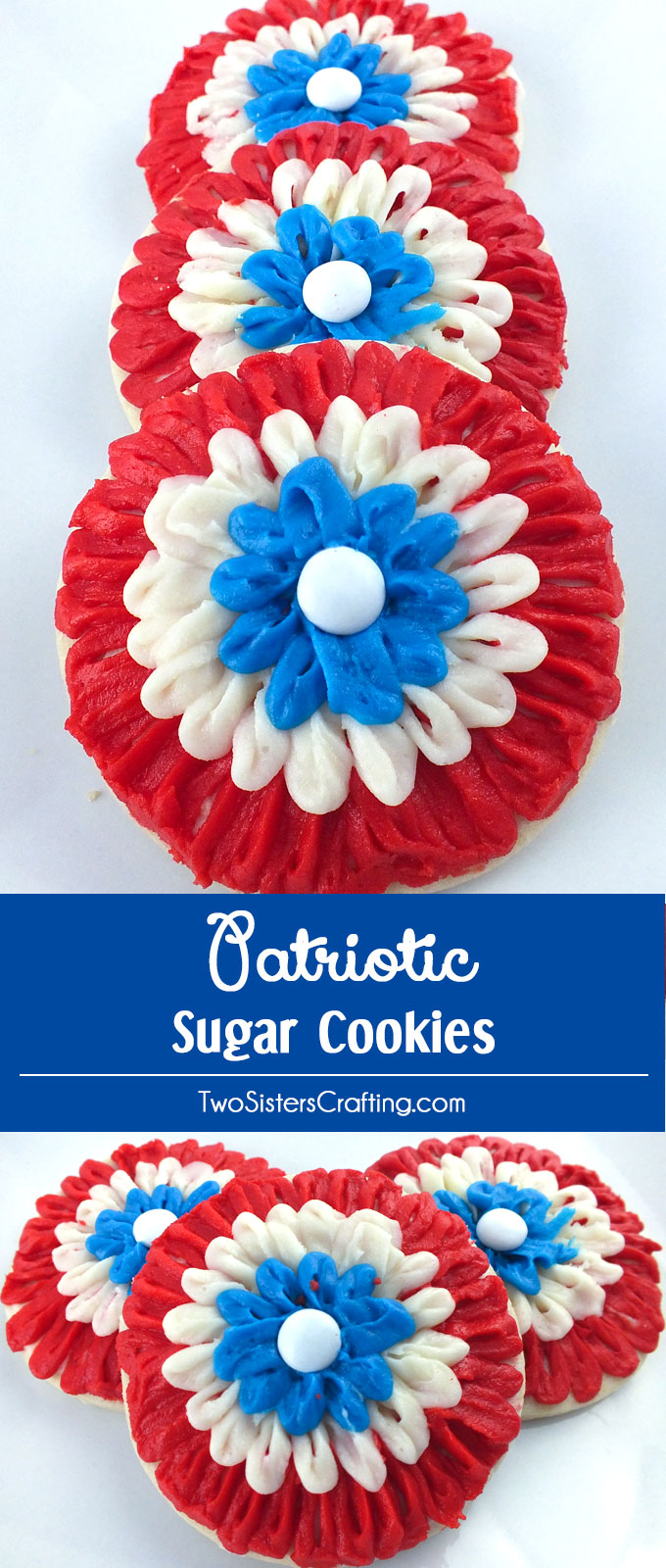 These gorgeous Patriotic Sugar Cookies are made with red white and blue Buttercream Frosting and are the perfect dessert for a 4th of July Party or a Memorial Day BBQ. Easier to make than they look, we have detailed instructions on how to create these beautiful and festive cookies. Follow us for more great 4th of July Food Ideas.