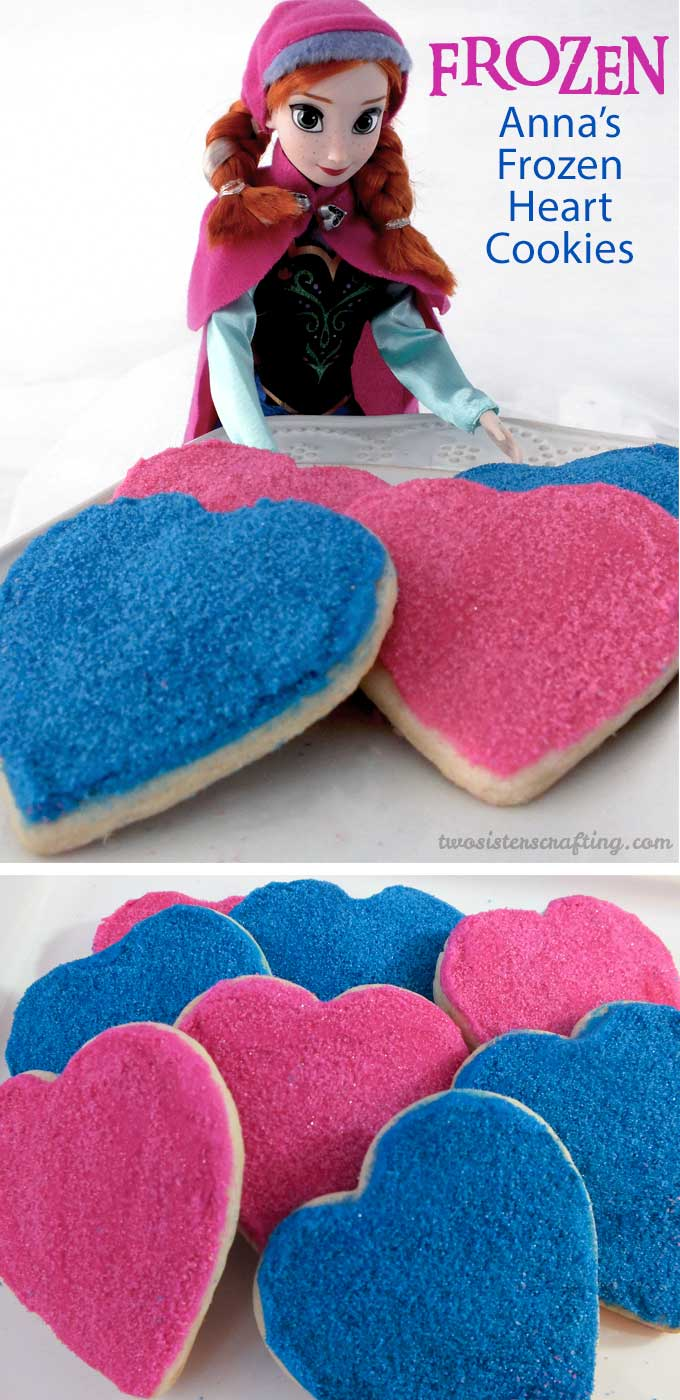 Wow the guests at your Frozen Birthday Party with these delcious and beautiful Anna's Frozen Heart Cookies. Made with yummy sugar cookies, buttercream frosting and homemade sparkling sugar, these delicious cookies will be a hit on your Frozen Dessert Table. Follow us for more great Frozen Party Ideas.