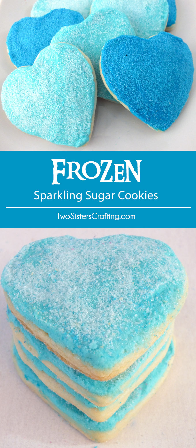 Our Frozen Sparkling Sugar Cookies are soft and delicious sugar cookies topped with luscious buttercream frosting and homemade sparkling sugar and decorated in iconic Elsa and Anna colors. What a fun dessert for a Frozen Birthday Party or as a special treat for the Frozen fan in your life. Follow us for more great Frozen Party Ideas.