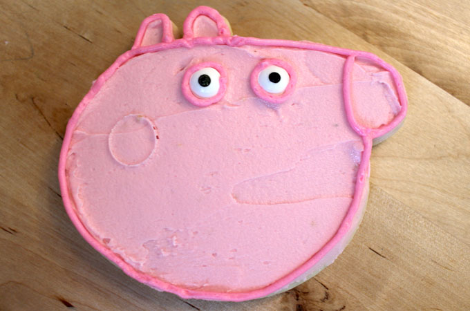Outline Candy Eyes with Dark Pink Frosting