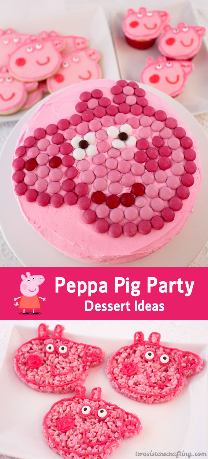 We threw a Peppa Pig Birthday Party and have put together our best Peppa Pig Party Dessert Ideas including cupcakes, frosted sugar cookies, Rice Krispie Treats and a Peppa Pig M&M Cake.  Follow us for more fun Peppa Pig Party Ideas.