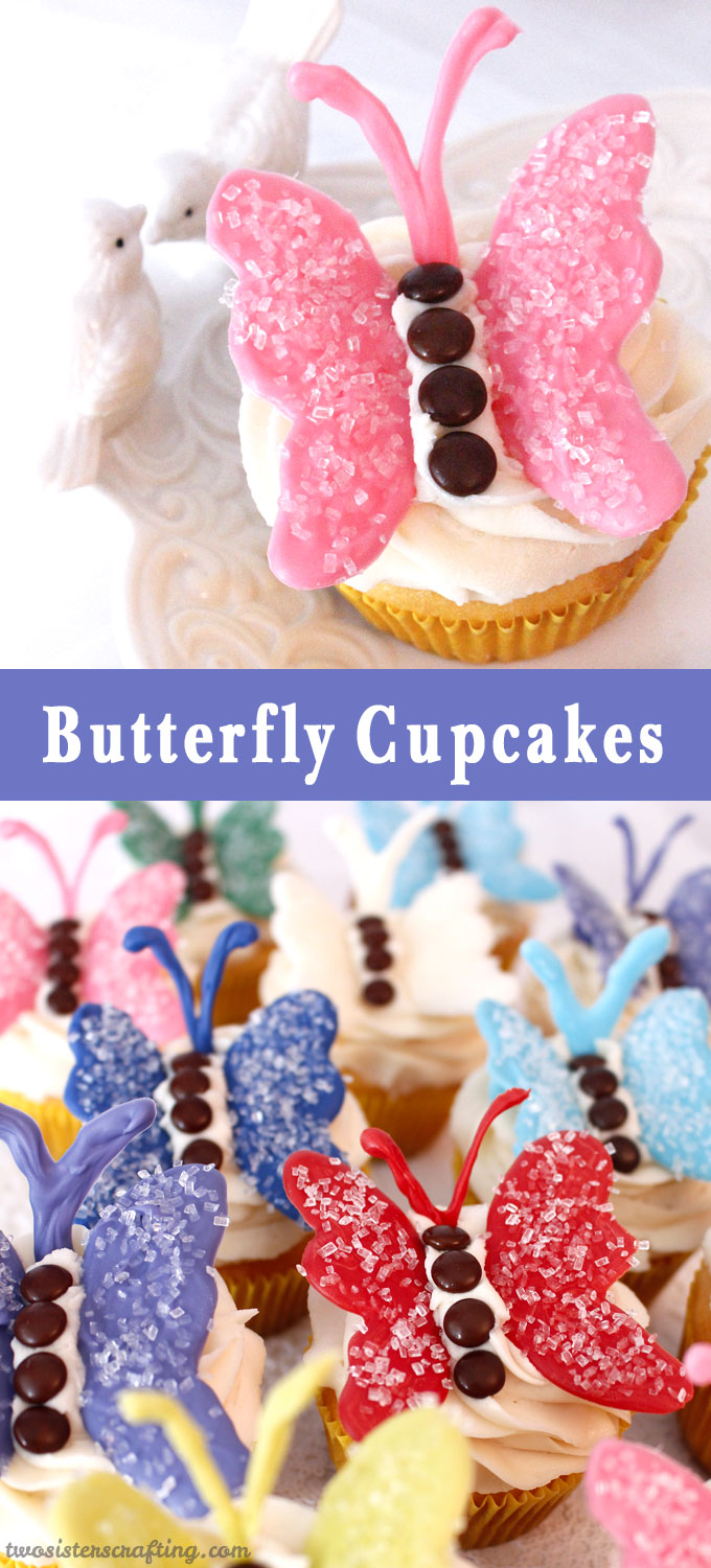 We just love the way these Butterfly Cupcakes turned out. They are so pretty and colorful.  Did we mention delicious?  And easy to make too!  They would be a great birthday party cupcake, baby shower cupcake, Sunday Brunch dessert idea or even a even Summer BBQ treat. Follow us on Pinterest for more fun Cupcake ideas.