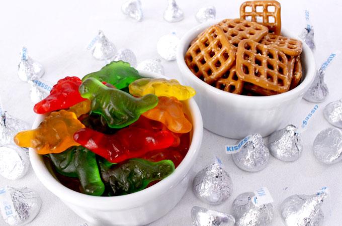 Ingredients for Gummy Dinosaur Pretzel Bites