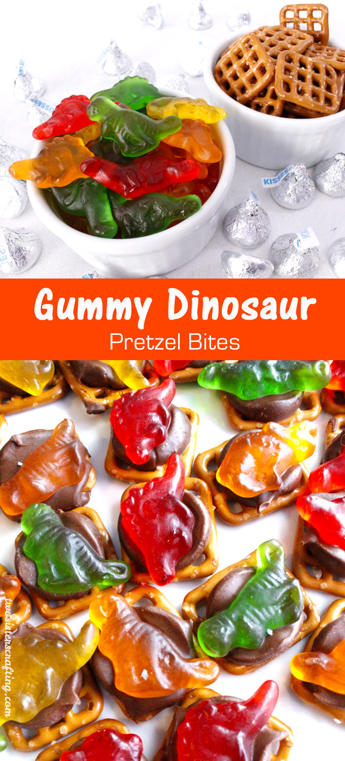 Our easy to make Gummy Dinosaur Pretzel Bites are delicious bites of sweet and salty goodness. Perfect for a Dinosaur Birthday Party or as an any time fun dessert for that Dinosaur lover in your life. Follow us for more fun Dinosaur Party Ideas.