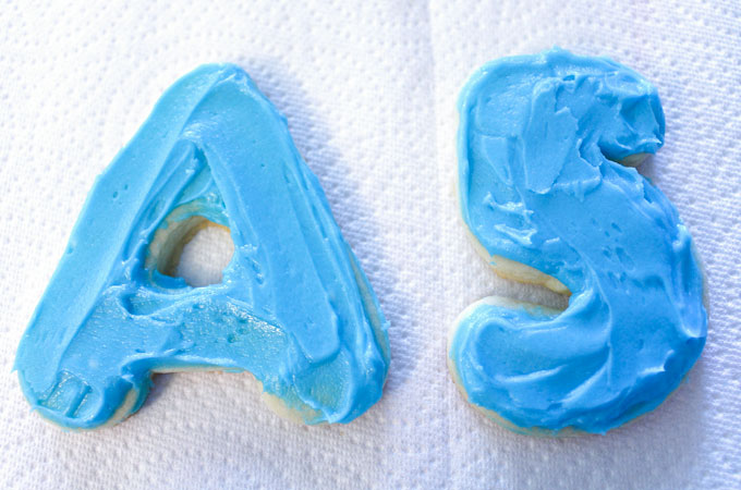 Frosting the A's and 5's Sugar Cookies