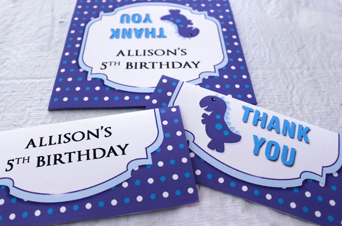 Labels for the Dinosaur Party Thank You Cookies