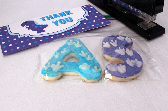 Assembling the Dinosaur Party Thank You Cookies