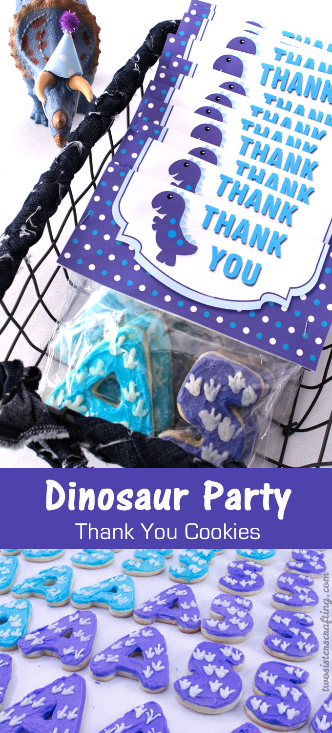 Dinosaur Party Thank You Cookies Two Sisters