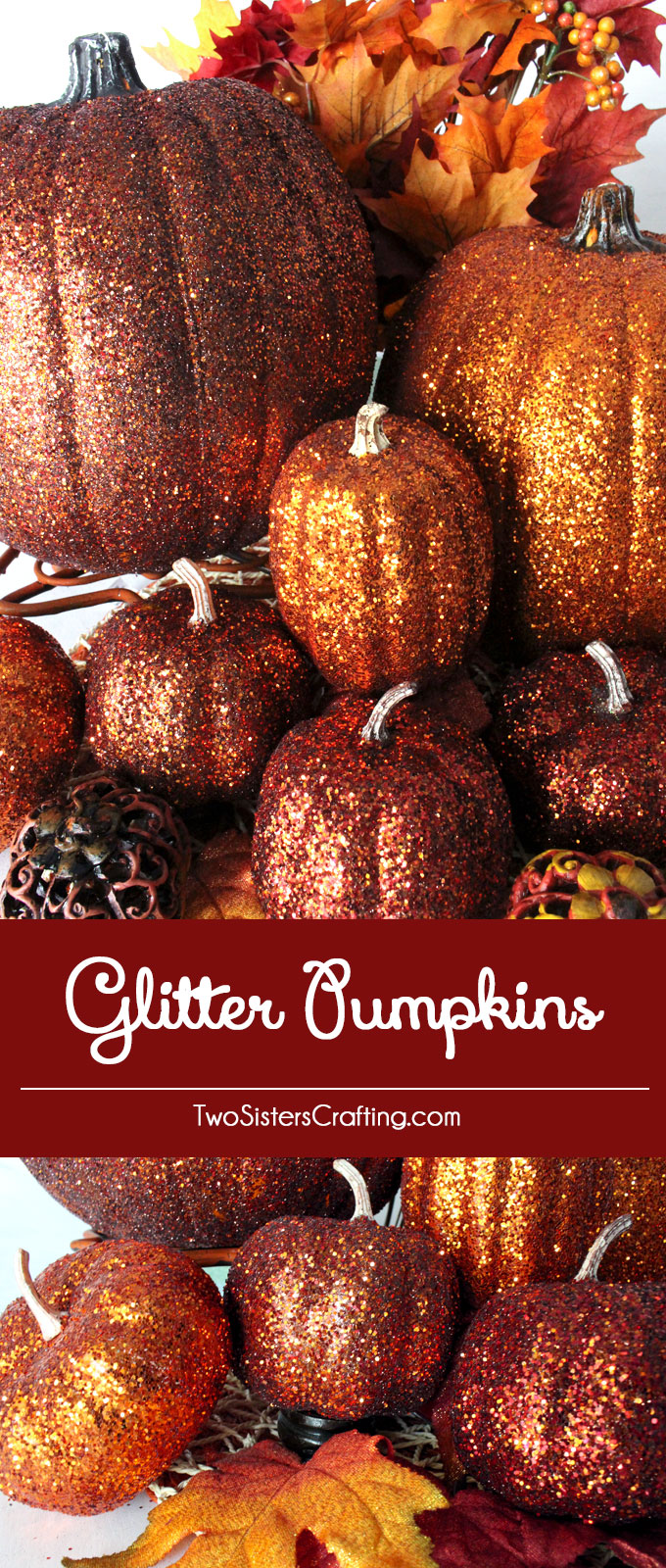 DIY Glitter Pumpkins are so easy to make that there is no need to decorate this fall with plain pumpkins. These Glittery Pumpkins make a fabulous Fall decoration, Thanksgiving Centerpiece or a Halloween decoration. Grab your glitter and let's get started! Follow us for more great Halloween and Thanksgiving decoration ideas.