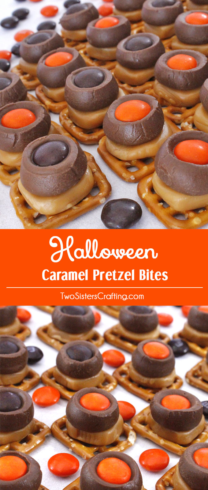 These Halloween Caramel Pretzel Bites are a great Halloween treat. Sweet, salty, crunchy and delicious they are an easy to make and yummy Halloween dessert that both you and your family will love. Follow us for more Halloween Food ideas.