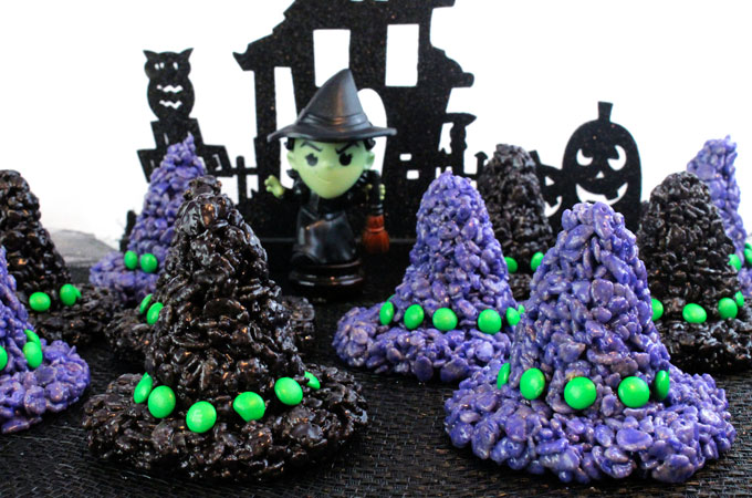 Rice Krispie Treat Witch Hats | Spooky Halloween Dessert Ideas
