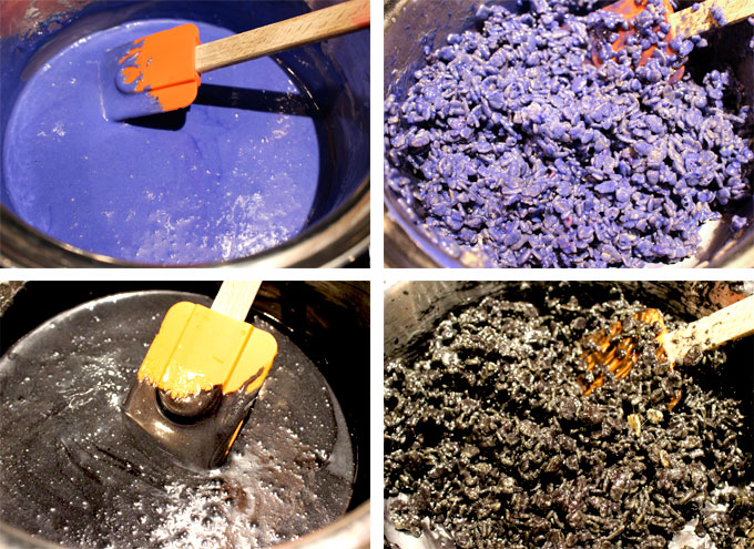 Color the Rice Krispie mixture purple and black