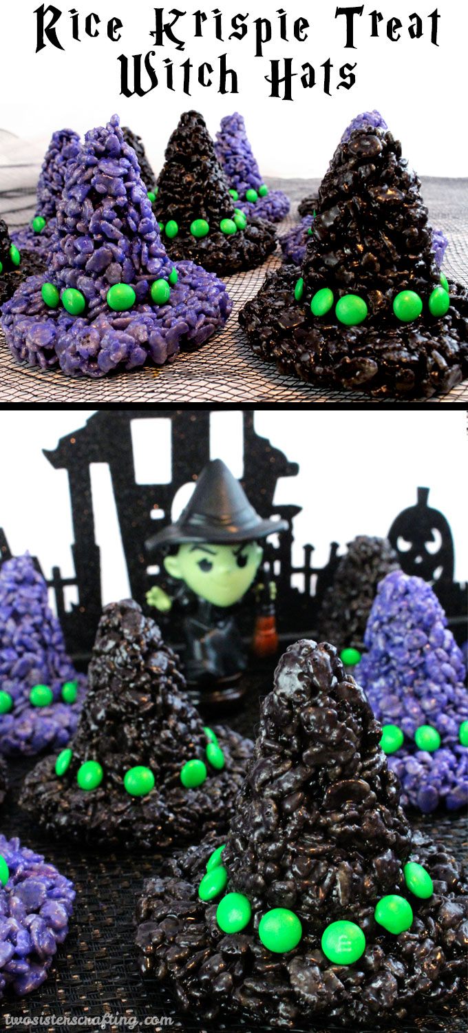 These Rice Krispie Treats Witch Hats will be everyone's favorite treat at your Halloween Party. They are super easy to make and are a spooky and fun Halloween Dessert that every one will love. Follow us for more fun Halloween Food Ideas.