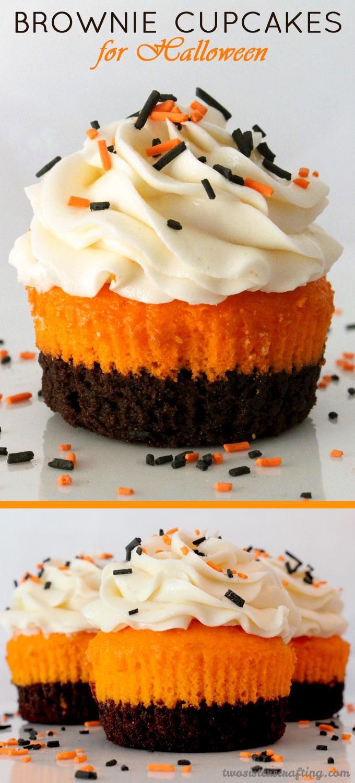 Brownie Cupcakes for Halloween - brownies plus cake plus frosting in ...