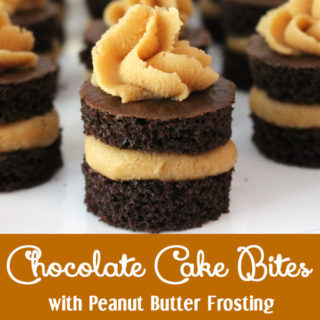 Chocolate Cake Bites with Peanut Butter Frosting