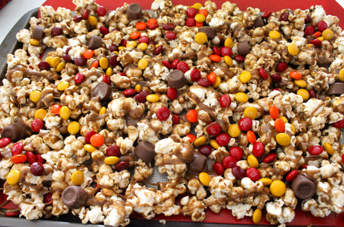 Add candy to the Harvest Caramel Popcorn