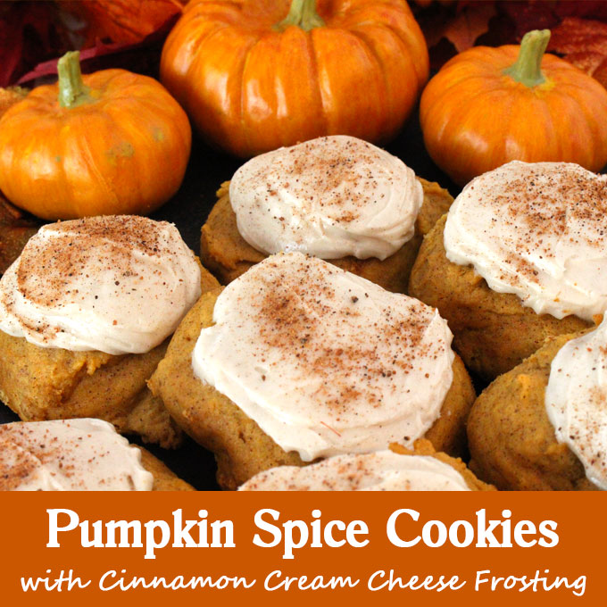 Pumpkin Spice Cookies with Cinnamon Cream Cheese Frosting - Two ...