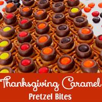 Thanksgiving Caramel Pretzel Bites