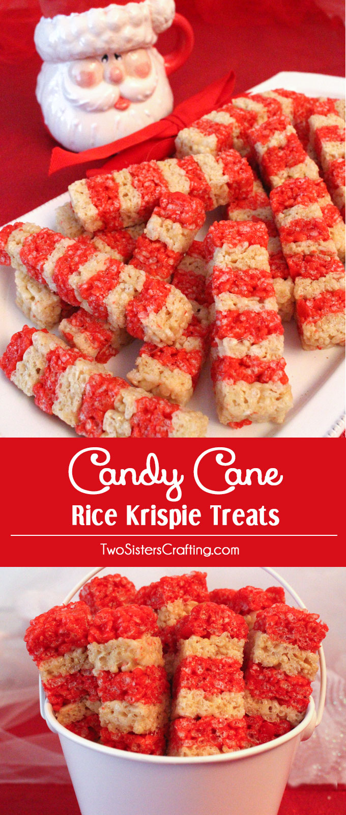 Candy Cane Rice Krispie Treats are adorable, delicious and make the perfect Christmas Dessert. Easy to make, these super colorful and festive Christmas Treats will definitely stand out on a Christmas Dessert Table. Follow us for more fun Christmas Food ideas.