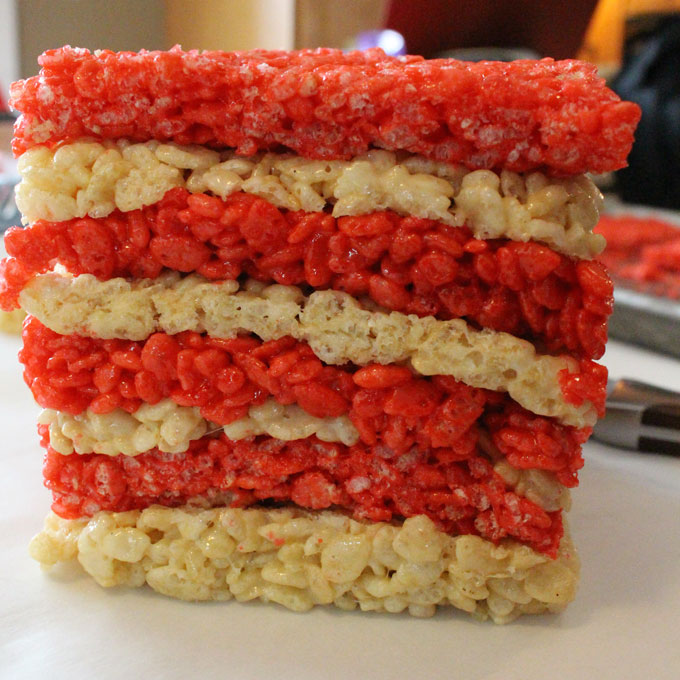 Stack layers of Rice Krispie treats