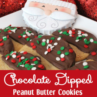 Chocolate Dipped Peanut Butter Christmas Cookies