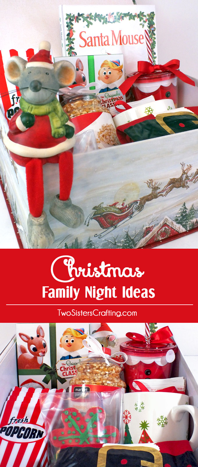 Christmas Family Night Ideas - Start a new Christmas Family Tradition with a Christmas Eve Eve Family Night filled with fun, popcorn, hot chocolate, Christmas movies and most importantly - love. Follow us for more fun Christmas Traditions.