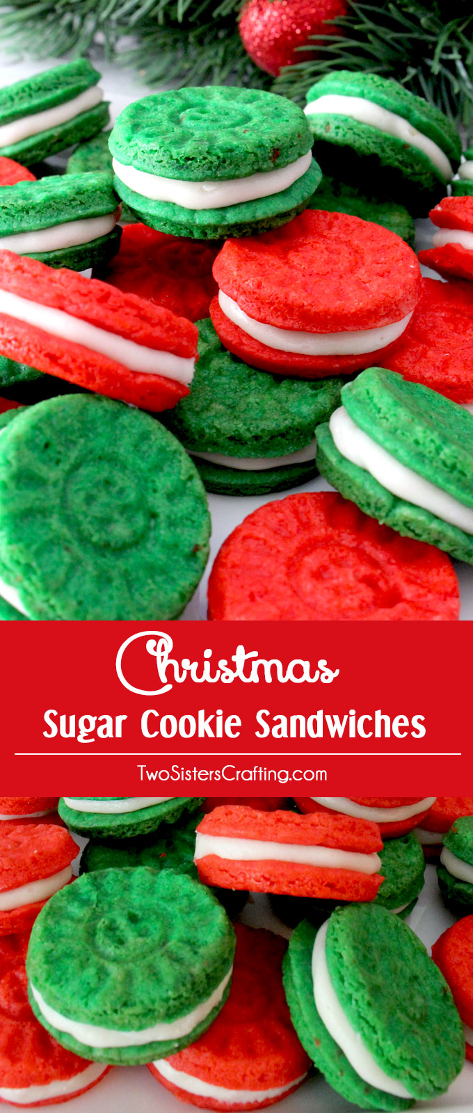 Sugar Cookie Sandwiches with Buttercream Frosting are a fun Holiday take on a Frosted Sugar Cookie. Festive, colorful, easy to make and so very yummy - they will be instant family favorite Christmas Cookie. Make your family a Christmas Treat that they are sure to love! (They'd be a great for a Cookie Exchange too!) Follow us for more more great Christmas Dessert ideas.