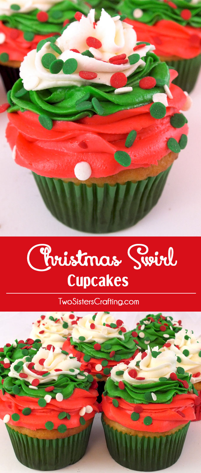 Christmas Swirl Cupcakes - a beautiful Christmas Cupcake for your holiday parties. Christmas Desserts never looked so good. Follow us for more great Christmas Treats ideas.