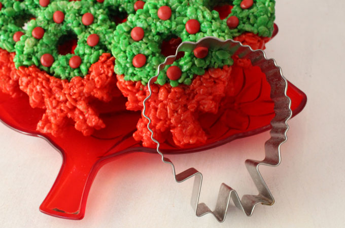 Christmas Wreath Rice Krispie Treats - Colorful, festive and delicious. They are a Christmas Dessert that everyone will love. We have all the directions you'll need to make these special Christmas Treats for your family. Follow us for more great Christmas Food ideas.