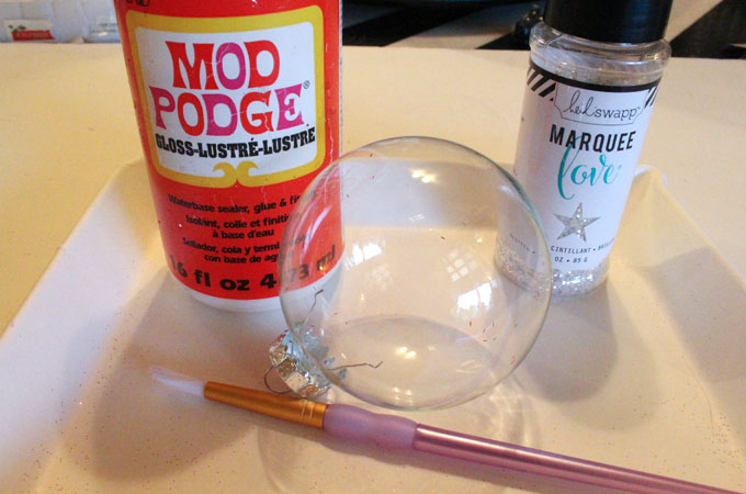 Supplies you will need to make Glitter Ornaments