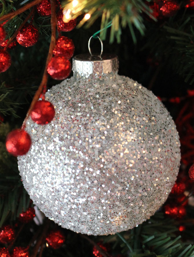these diy white silver glitter christmas tree ornaments are a great christmas craft project - White And Silver Christmas Tree