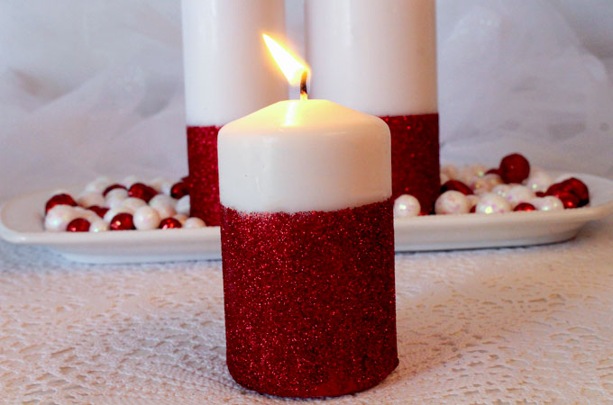 how to decorate your home with candles glitter candles easy diy christmas decorations two 13662